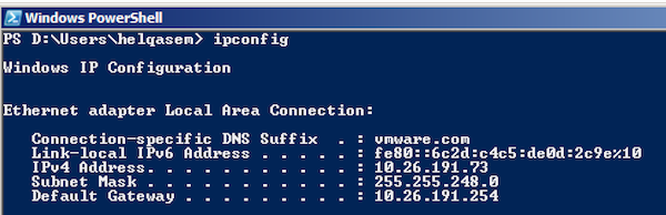 IPCONFIG Powershell Screenshot